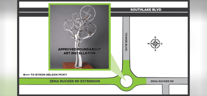 Council Approves Public Art Installation for Roundabout at Zena Rucker Road in Southlake
