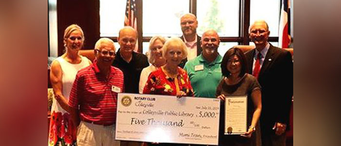 Colleyville: Rotary Club Makes Sizable Donation to the Library