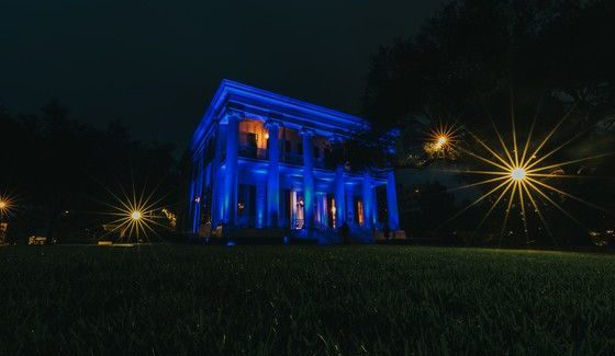 Texas Governor's Mansion Lit Blue In Honor Of Frontline Health Care Workers In Texas