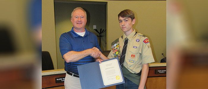 Saginaw: Eagle Scout Recognized for His Project at a City Council Meeting