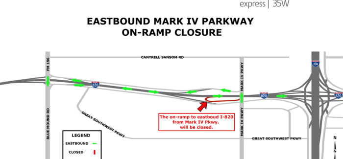 Eastbound 820 on-ramp from Mark IV Parkway closing